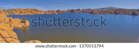 Panorama view of Watson Lake in Prescott AZ. Viewed from the beginning of the Watson Lake Loop Trail.