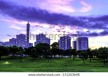 panorama view of Yokohama City Park with MM21 skyline in Japan