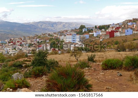 Panorama view on the edge of the city of Chefchaouen in the Rif mountains from a viewpoint, Morocco, Africa Stockfoto ©