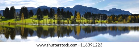 panorama view over beautiful rural landscape nearby city Fuessen in Bavaria, Germany