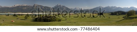 panorama view over landscape Allgaeu in germany nearby city fuessen