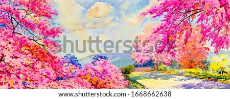 Panorama view - Painting watercolor landscape original pink red color of wild himalayan cherry flowers, landmark in spring Asia seasonal. Hand painted abstract image illustration background.
