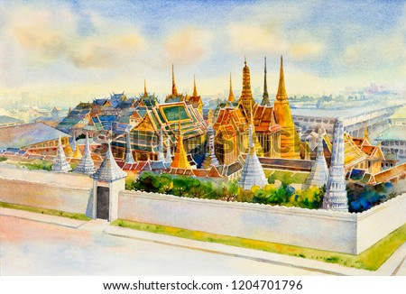 Panorama view Royal grand palace and Wat phra keaw at Bangkok,Thailand. Watercolor painting landscape of tourism location beautiful Temple of the Emerald Buddha. Painted illustration, landmark of Asia