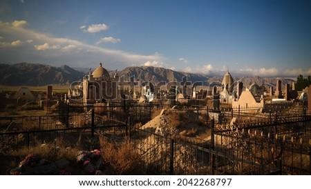 Panorama view to muslim cemetery Semiz Bel at Kochkor in Naryn, Kyrgyzstan Stock fotó ©