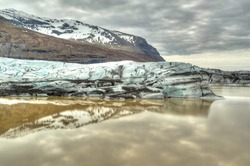 Panorama view to the Svínafellsjökull Glacier in Iceland - Dramatic sky - HDR