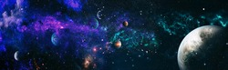 Panorama view universe space. Cosmic landscape, beautiful science fiction wallpaper with endless deep space. Elements of this image furnished by NASA