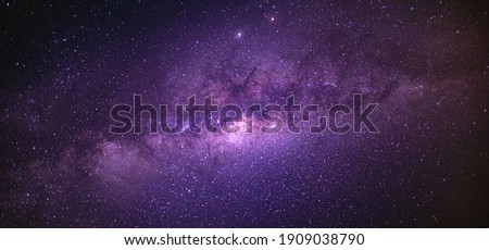 Panorama view universe space shot of milky way galaxy with stars on a night sky background. The Milky Way is the galaxy that contains our Solar System. Photo stock ©