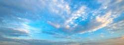 panorama vivid sky.Panorama of a twilight sunset and colorful clouds - sunlight with dramatic cloud.