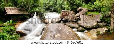 Panorama water turbine and waterfall in thailand.