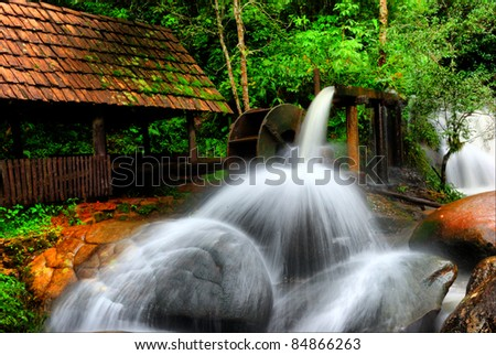 Panorama water turbine and waterfall in thailand.