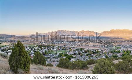 Panorama Wide panorama of the Utah Valley USA at sunrise