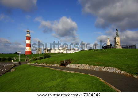 panorama with lighthouse, Plymouth, UK
