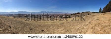 Panorama with mountain range in the background Stock fotó ©