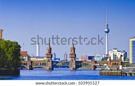 panorama with oberbaum bridge in berlin, germany