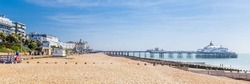 Panorama with pier and promenade in Eastbourne, Sussex, United Kingdom