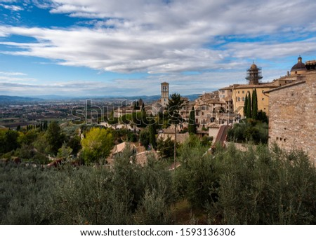 Panoramas of the old stone Assisi. Perugia. Umbria Italy.