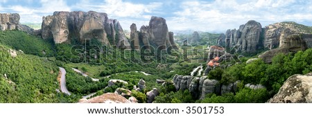 Panoramatic view of the Meteora monasteries in Greece - stock photo