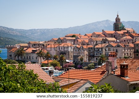Panoramatic view of the Old town of Korcula, Croatia