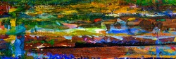 panoramic abstract oil painting background. Oil on canvas texture. Hand drawn oil painting