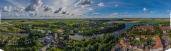 Panoramic aerial city view of Friedrichstadt, Dutch town in the state Schleswig-Holstein with the romantic canals situated on the river Eider and Treene, Nord frisia, Germany