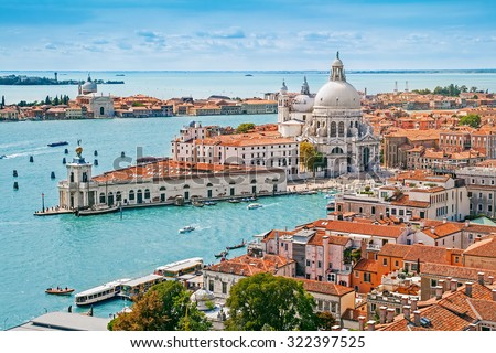 Panoramic aerial cityscape of Venice with Santa Maria della Salute church, Veneto, Italy