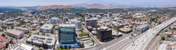 Panoramic aerial day time view of downtown Riverside, California.