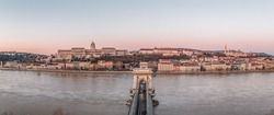 Panoramic aerial drone shot of Buda Castle on Buda hill before Budapest sunrise