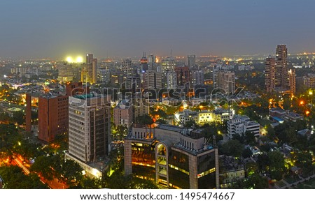 Panoramic Aerial Evening View with the lighting of Central New Delhi,