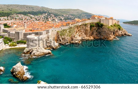 Panoramic aerial photo of old Dubrovnik walls