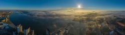 Panoramic aerial view of Aalborg port and Aalborg surrounds in the early morning