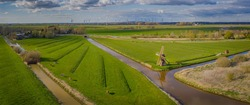 Panoramic aerial view of agriculture idyllic landscape with cows, windmills. Historic water scoop mill and natural agriculture landscape by Wilstermarsch, Schleswig-Holstein, Germany.