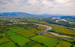 Panoramic aerial view of beautiful Shkoder Drin and Kir rivers landscape from old Rozafa castle Albania.