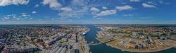 Panoramic aerial view of city Kiel and Kiel Bay, Schleswig-Holstein, Germany, Europe