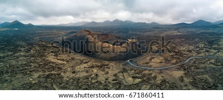 Panoramic aerial view of Crater on the island of Lanzarote. Canary Islands, Spain, Europe.
