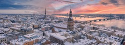 Panoramic aerial view of Dome cathedral on Dome square with decorated Christmas tree in Riga, Latvia