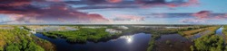 Panoramic aerial view of Everglades, Florida.