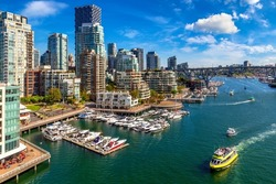 Panoramic aerial view of  False creek in Vancouver in a sunny day, Canada