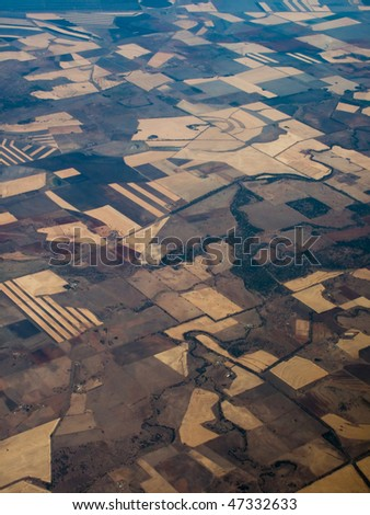 Panoramic, Aerial view of farmer's fields Queensland Australia