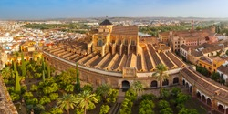 Panoramic aerial view of Great Mosque Mezquita - Catedral de Cordoba, Andalusia, Spain.
