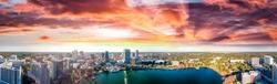 Panoramic aerial view of Lake Eola and surrounding buildings, Orlando - Florida.
