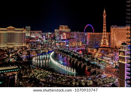 Panoramic aerial view of Las Vegas strip in Nevada as seen at night USA  #1070933747