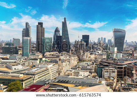 Panoramic aerial view of London, skyscrapers in the financial district, England, United Kingdom #615763574