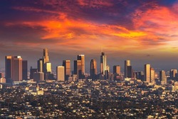 Panoramic aerial view of Los Angeles at sunset, California, USA