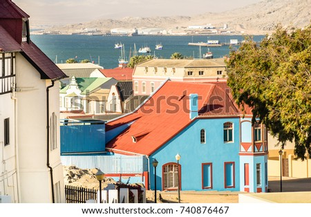 Panoramic aerial view of Luderitz houses - Architecture concept with ancient german style town in south Namibia - Exclusive travel destination in african european settlement - Warm color tones