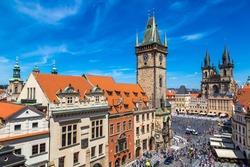 Panoramic aerial view of Old Town square and Clock Tower in Prague in a beautiful summer day, Czech Republic