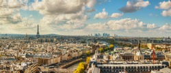 Panoramic aerial view of Paris with the Eiffel tower