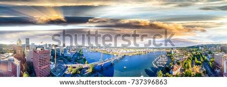 Panoramic aerial view of Portland skyline and Willamette river. #737396863