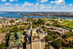 Panoramic aerial view of Quebec city in a sunny day, Canada