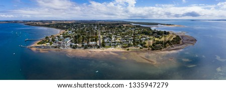 Panoramic aerial view of Rhyll, a small town on Phillip Island, a short 2 hour drive from Melbourne, Australia #1335947279