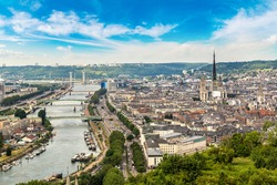 Panoramic aerial view of Rouen in a beautiful summer day, France